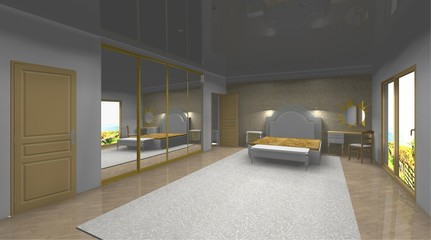 bedroom 3D rendering design interior