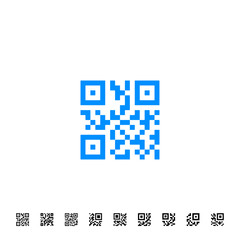 QR scanning application icons. Vector simplified code sample