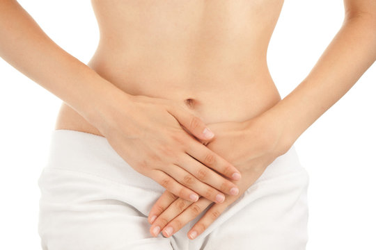 Slim Body of Young Woman with Gynecology Pain.