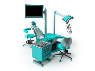 Armchair dentist with bedside tables monitor blue 3d render on white background