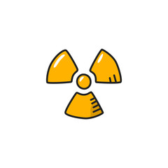 Radioactive Hand Drawn Icon, Sign or Logo Vector Illustration
