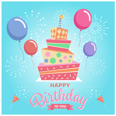 Happy birthday to you with Square cake , balloon and firework on blue sky background