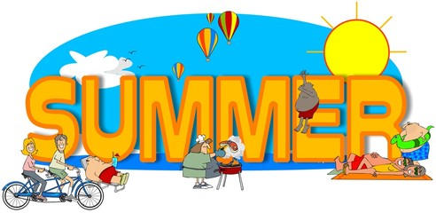Illustration of the word Summer surrounded by people doing hot weather activities.
