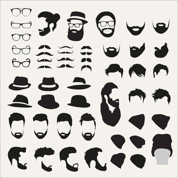 A set of different elements and silhouettes of hairstyles for fashionable men