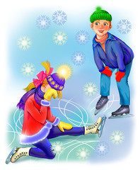 Illustration of boy and girl learning to skate. Image drawing on computer by graphic tablet.