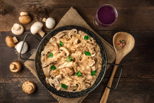 Mushroom beef stroganoff with wine and copy space