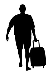 Tourist with suitcase silhouette, isolated on white background. Vector illustration.