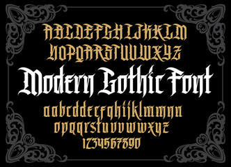 Vector modern gothic alphabet in framef. Vintage font. Typography for labels, headlines, posters etc.