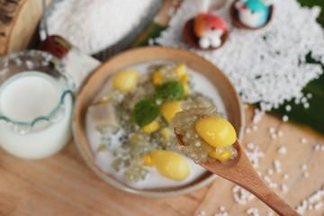 Sago dessert with coconut milk ,Thai dessert