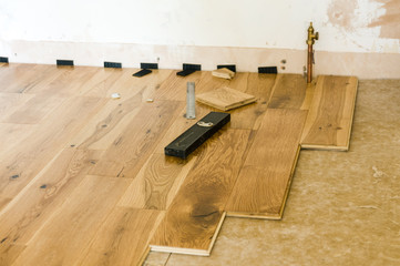 Wooden floor being laid