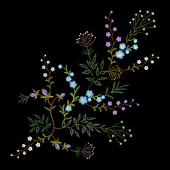 Embroidery trend floral pattern small branches herb leaf with little blue violet flower. Ornate traditional folk fashion patch design neckline blossom on black background vector illustration