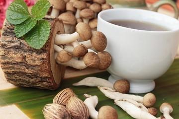 Mushroom tea for health and fresh mushrooms