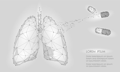 Human Internal Organ Lungs Medicine Treatment Drug. Low Poly technology design. White Gray color polygonal triangle connected dots. Health medicine icon background vector illustration
