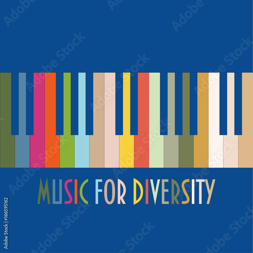 Support diversity concept vector illustration  Colourful Piano Keys