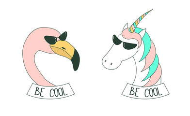 Set of hand drawn cute funny stickers in pink, with flamingo and unicorn wearing sunglasses, with text Be cool.