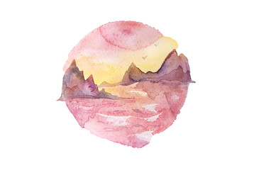 Pink, violet and yellow sunset over the sea with rocks. Watercolor painting isolated on white