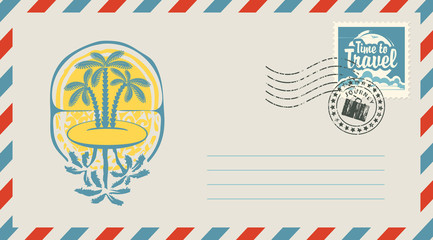 Postal envelope with stamp and rubber stamp. Illustration on the theme of travel with the scenery of the Islands, palm trees and a sunset and a calligraphic inscription Time to travel