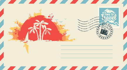 Postal envelope with stamp and rubber stamp. Illustration on the theme travel landscape with palm trees, surfer and island at sunset and the inscription Time to travel