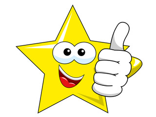 Cartoon Star thumb up isolated