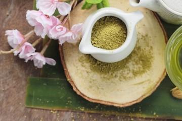 Hot green tea and matcha tea powder
