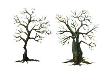 枯れた木と木のお化け