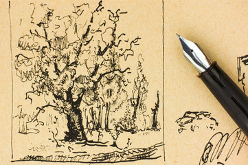Tree drawing by ink with pen.