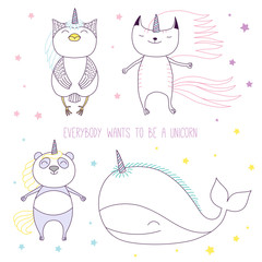 Hand drawn vector illustration of a cute whale, cat, panda and owl as unicorns among the stars, with text.