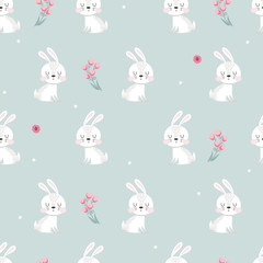 Seamless pattern with white rabbits