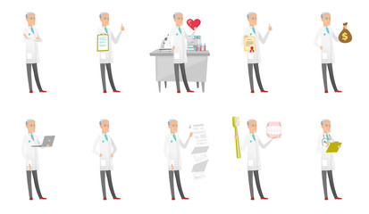 Senior caucasian doctor set. Doctor showing heart, thumbs up, money bag, document with presentation, using a laptop. Set of vector flat design cartoon illustrations isolated on white background.