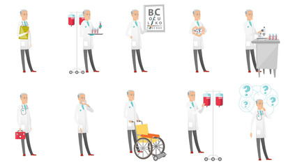 Senior caucasian doctor set. Scientist working with microscope, ophthalmologist pointing at eye chart, dentist with loupe. Set of vector flat design cartoon illustrations isolated on white background.