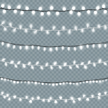 Glowing isolated Christmas lights vector set. Realistic Xmas light bulbs chains decor collection with transparent white shining.