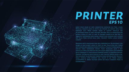 Printer which consists of points. Particles in the form of a printer on a dark background. Vector illustration. Graphic concept printing on the printer