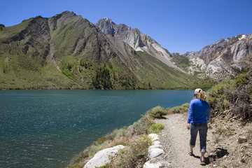Hiking the Convict Lake Loop trail in the Mammoth Lakes area.