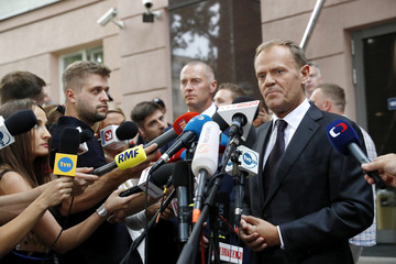 President of the European Council Tusk speaks to media next to the prosecutor's office in Warsaw