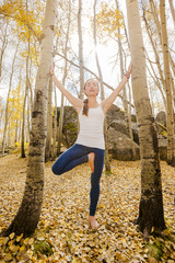 Yoga in the aspen leaves