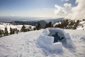 Building an igloo on Seymour Mountain, Vancouver, British Columbia, Canada.