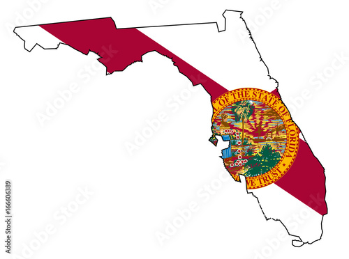 Florida State Outline Map And Flag Stock Image And Royalty Free
