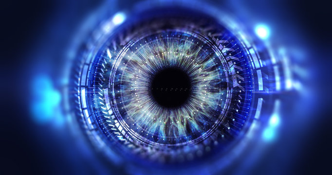 Security access  technology/Eye viewing digital information represented by circles and signs, background depth of field. Technology concept