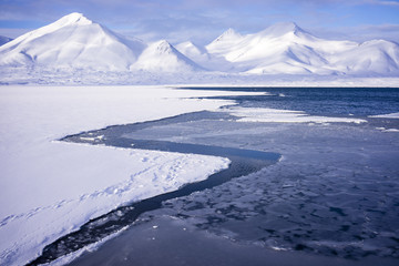 Mountain landscape in the arctic sea
