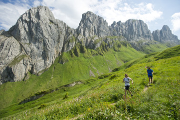 Man and woman hiking in Appenzellerland