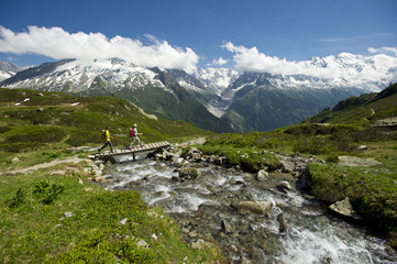 Man and woman hiking in La Flegere Mountains