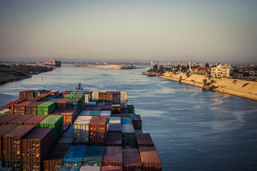 Container Ship Passing Through The Suez Canal