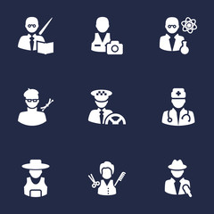Set Of 9 Job Icons Set.Collection Of Stylist, Driver, Rancher And Other Elements.