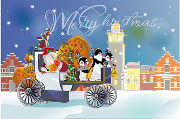 Santa with a big bag of gifts at snow-covered streets. Pinguins driving  the retro carriage. Christmas greeting card background poster. Vector illustration