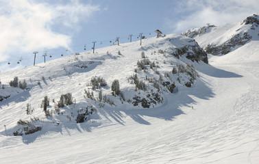 Ski resort lift and slopes