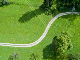 Foto op Aluminium Luchtfoto Aerial view of path through fields