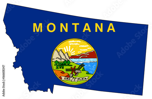 montana state outline map and flag stock image and royalty free