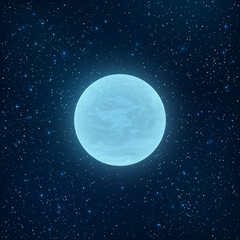 Glowing blue full moon in space. Many luminous stars. Realistic space