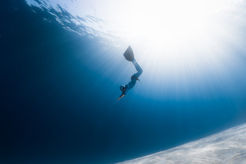 Wall Mural - Woman freediver glides over sandy bottom in a tropical clear sea with sun rays