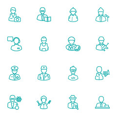 Set Of 16 Job Outline Icons Set.Collection Of Reporter, Operator, Firefighter And Other Elements.